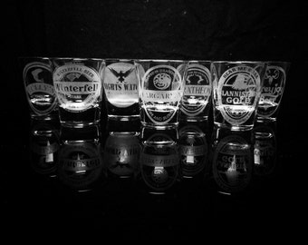 Game of Thrones Shot Glass Set of 7 -House Stark -House Targaryen -House Lannister -House Baratheon -House Greyjoy-House Tully-Night's Watch