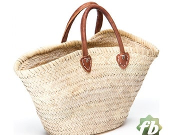 Natural French Basket Handle leather, French Basket, Moroccan Basket, straw bag, french market basket, Beach Bag, straw bag