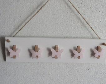 HAND MADE Painted wood hanging Butterflies  Miniature Peg Rack