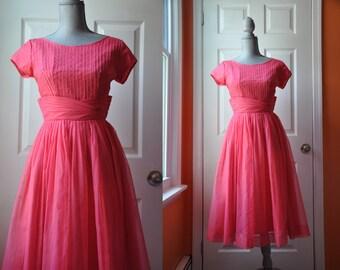 Vintage 1950s dress | pink chiffon 50s party dress •  Sweet Tea dress