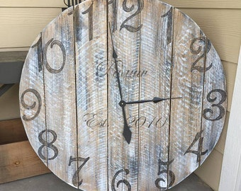 """36"""" Reclaimed Wood Clock - FREE SHIPPING"""
