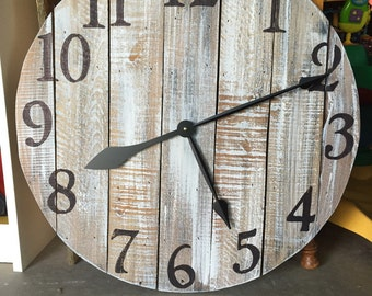 "24"" Reclaimed Wood Wall Clock- Free Shipping"