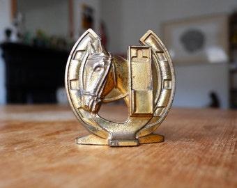 1960's English Equestrian Brass Match Holder