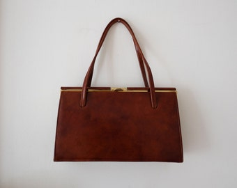 1950's Ackery London genuine leather small handbag with tan suede lining