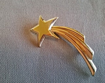 Free Shipping! Vintage Falling Star Gold Tone Brooch Pin Star 1990s 90s
