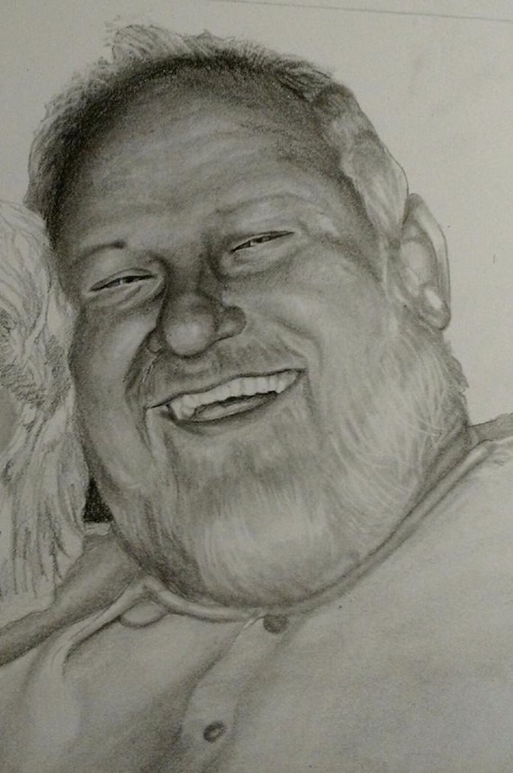Custom graphite portrait drawn from your photo. Drawn by an Award-Winning Artist! Free shipping.