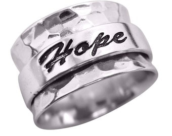 """Energy Stone """"HOPE LOVE FAITH"""" Sterling Silver Spinning Ring (Style# US20)"""
