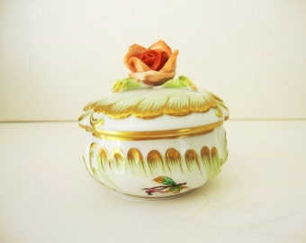 Porcelain, Trinket Box, Pin Dish, Herend Porcelain  Hungary Queen Victoria Green  pattern, Vanity