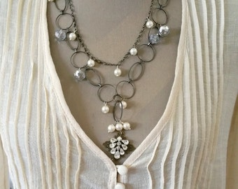 Vintage Upcycled Repurposed Necklace / Created with Vintage Rhinestone Earring Pearls Crystals Chain / Romantic Hippie Layered Jewelry