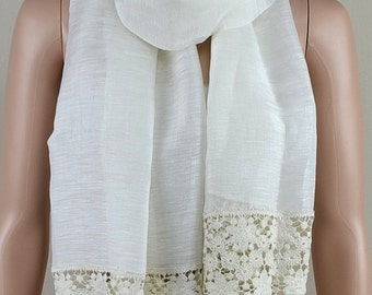 Fashionable white cotton scarf, cotton lace, joining together the scarf, shawl, clothing decorative accessories