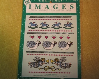 Rub-on transfers, Christmas images,4 rocking horses,3 swans,2 angels,hearts,borders,by Duncan Crafts, for wood,metal,glass,plastic,etc