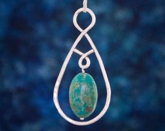 Turquoise chunky necklace, Boho Turquoise necklace, Turquoise chandelier necklace
