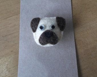 Felt Pug dog brooch