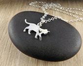 Sterling silver cat pendant~cat pendant~silver cat jewellery~ silver cat pendant~animal jewellery~animal pendant~pet lovers charm