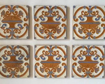 Set Of Six Maw & Co 19th Century Victorian Floret Tiles