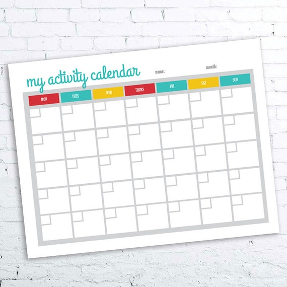 activity calendar printable. Black Bedroom Furniture Sets. Home Design Ideas