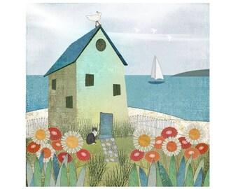 "Coastal Decor Modern Folk Art Landscape Print ""Cottage on Sandy Point"""