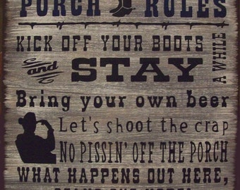 Western Porch Rules Primitive Rustic Country Wood Sign Home Decor