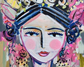 Warrior Girl Print woman art impressionist modern abstract girl paper or canvas, Cassie