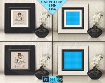 Square #T04 White Black Leather 10x10 Matted Unmatted Frame on Table & Flowers, 4 Print Display Mockups, PNG PSD PSE, 25x25cm Custom colors