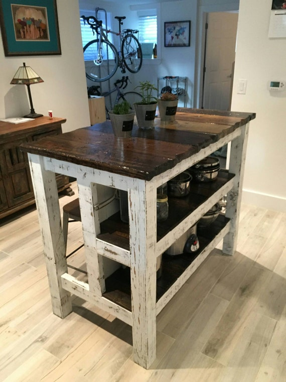 reclaimed wood distressed kitchen island by lostdogwoodworks