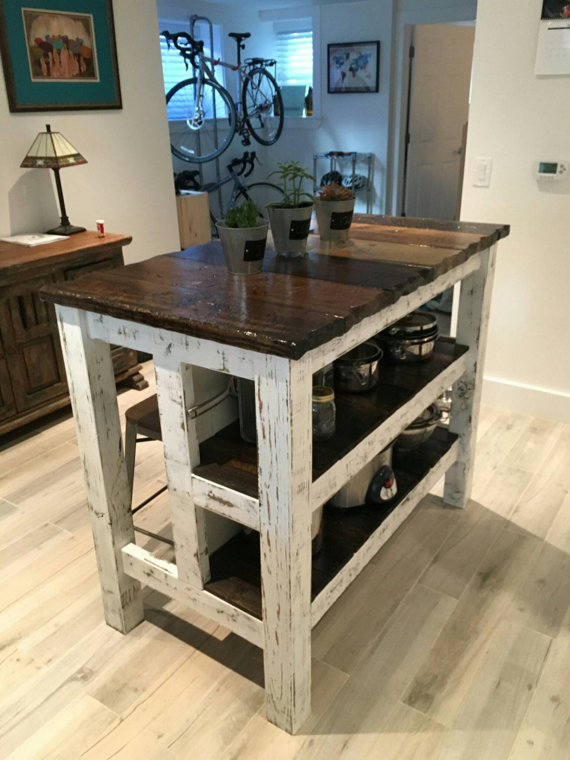 Reclaimed wood distressed kitchen island by lostdogwoodworks for All wood kitchen island