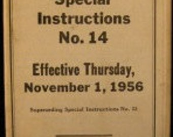 Very Rare Union Pacific Railroad Special Instructions No. 14