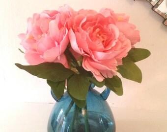 Pink Peony Artificial Flower Arrangement In Blue Bubble Vase
