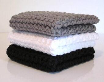 Crochet Wash Cloths / Dish Cloths / 100% Cotton / Set of 3