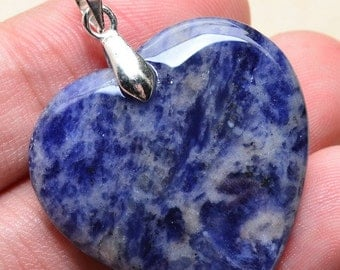 Natural Sodalite heart silver plated pendant  ( #J1084)