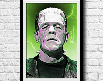 Frankenstein Classic Digital Painting Print