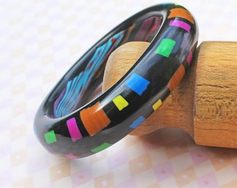 Bangle - Handmade Designer Polymer Clay Bangle - Black Bangle - Modern Jazz Bangle - Ideal Gift