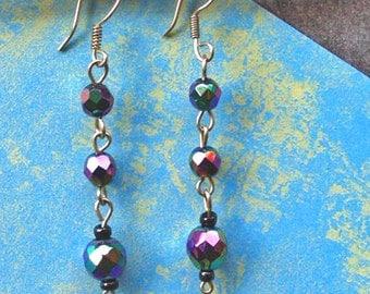 Bead Earrings - Silver Earrings - Handmade Earrings - Upcycled Bead Earrings - Carnival Beads