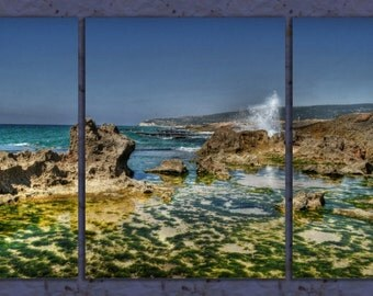 Rocky Beach Triptych, Ocean Wave Wall Art Print, Coastal Modern Art Decor, Nature Photography Fine Art, Digital Download, Rocky Sea Poster