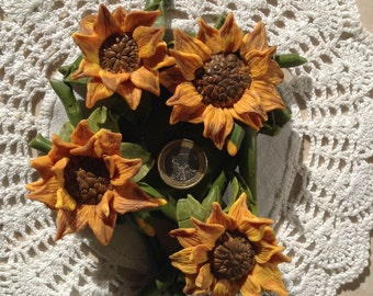 Candlestick four sunflowers, handmade in Tuscany, home decor, Mothers Day,
