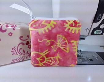 Batik Coin Purse, Coral Print Change Purse, Cute Coin Pouch, Small Zipper Pouch, Little Zipper Pouch