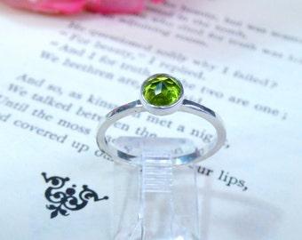 Bright Green Peridot Sterling Silver Ring
