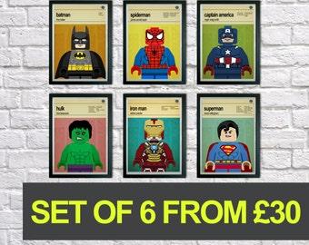 Superhero Wall Art super hero wall art kids wall art batman superman spiderman. lego