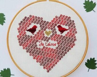 Blackwork pattern. Lovebirds Heart embroidery pattern. Wedding sampler. Wedding announcement. Valentine's gift. Gifts for couples.