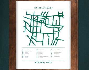 Raise a Glass - Athens Ohio Map - Athens Ohio Bar Map - Ohio University - Ohio Bobcats - Athens Ohio