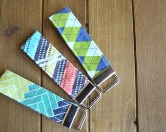 Green and Blue Fabric Keychain Fob - Bridesmaid Gift, Herringbone, Stripes, Argyl, Present, Christmas Gifts, Stocking Stuffer