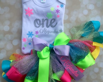 First Birthday Outfit - Candyland Winter Set - Rainbow Tutu - Satin Ribbon Tutu - Candy Snowflake Party - Personalize Birthday Set