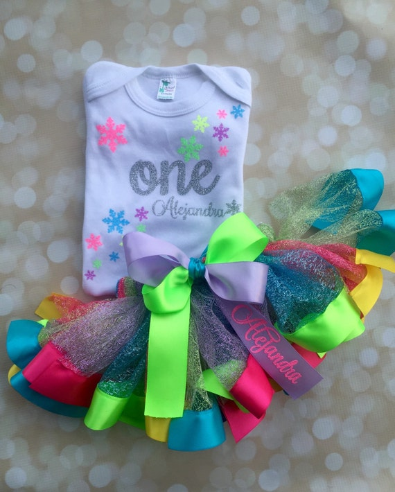 first birthday outfit candyland winter set rainbow tutu satin