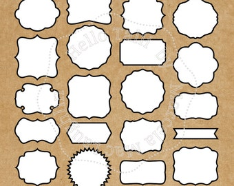 White Labels Clipart WHITE DIGITAL Frames with BLACK Border Clip Art- 20 vintage labels tags banners square frames scalloped circles wedding