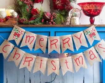 Merry Christmas Banner, Christmas Burlap Banner, Holiday Banner,  Merry Christmas Burlap Banner, Christmas Decor, Holiday Decor, B163