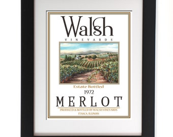 Wine Art, Mothers Day Gift Personalized, Wine Decor, Custom Wine Sign, Fine Art Wine Print, Customize Your Name Wine & Location, 3 Sizes