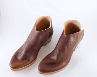 The Terilyn. Koniec Antiqe Brown. 3cm. Handmade Boots. Womens Shoes.