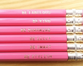 Gentle Reminder Pencils. Set of 6. Pink Pencils. Cute Pencils. Gifts for Her. Back to school supplies. USA Made.Inspirational.