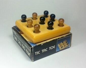 Vintage 1980's Tic Tac Toe Wood Peg Game Sears
