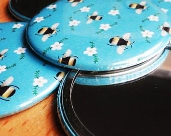 Bumblebee Pattern Pocket Mirror